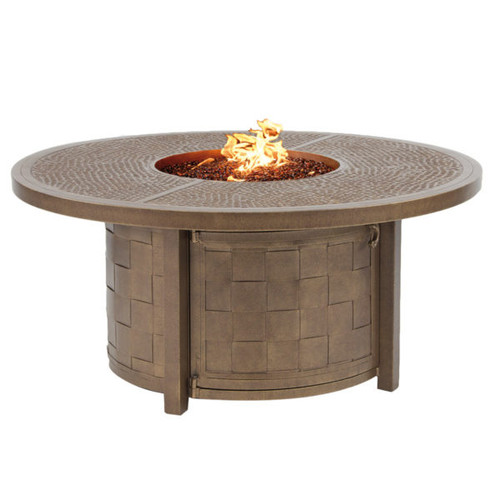 """Castelle Classical 49"""" Round Coffee Table with Firepit and Lid"""