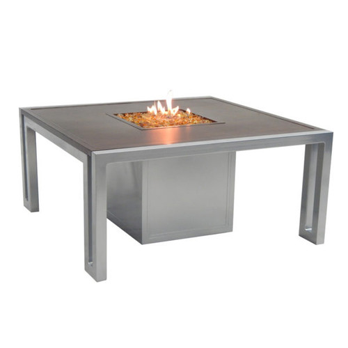 "Castelle Icon 44"" Square Coffee Table with Firepit and Lid"