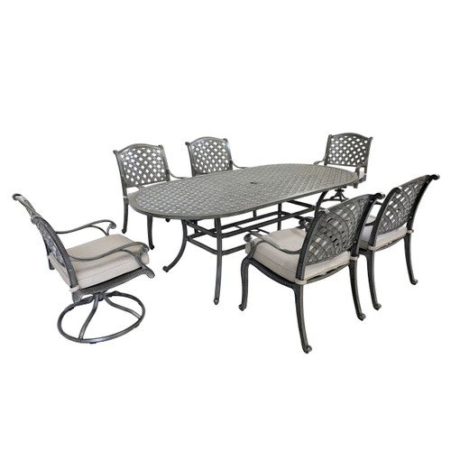 Macan Outdoor 7PC Oval Dining Set