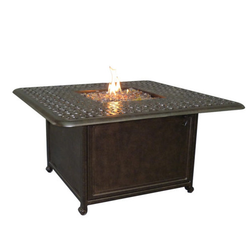 """Castelle Sienna 42"""" Square Coffee Table with Firepit and Lid"""