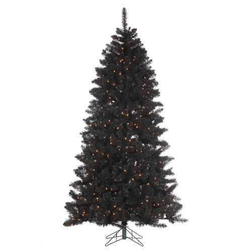 7.5' Shiny Black Pine Prelit Artificial Christmas Tree