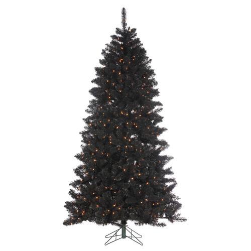 7.5' Shiny Black Pine Prelit Artificial Christmas Tree