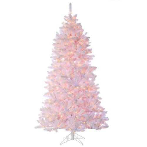 7.5' Shiny White Pine Prelit Artificial Christmas Tree
