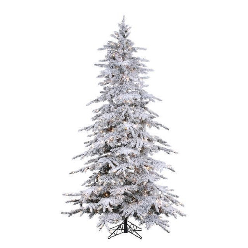 7.5' Flocked Balsam Pine Prelit Artificial Christmas Tree with StayLit