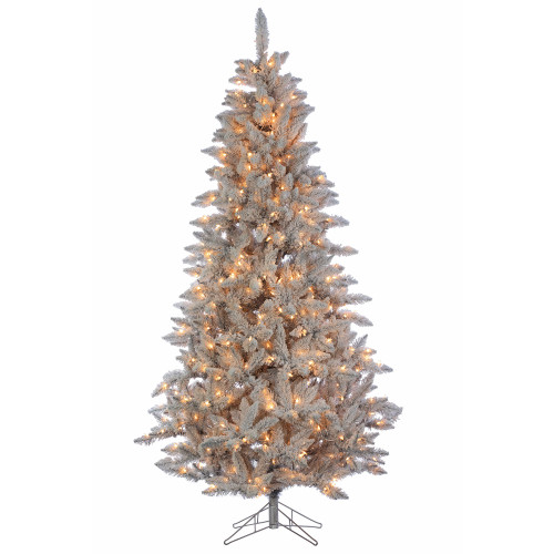 7.5' Deluxe Tinsel Silver/White Flock Artificial Christmas Tree