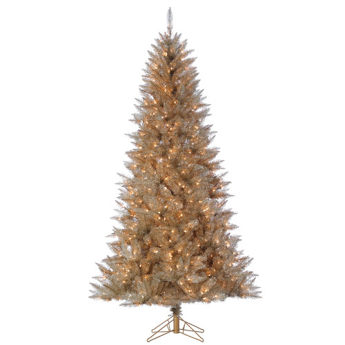 7.5' Platinum Tinsel Prelit LED Artificial Christmas Tree