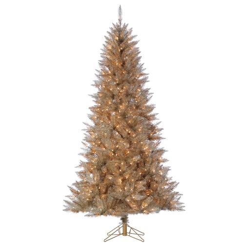 7.5' Platinum Tinsel Prelit LED Artificial Christmas Tree