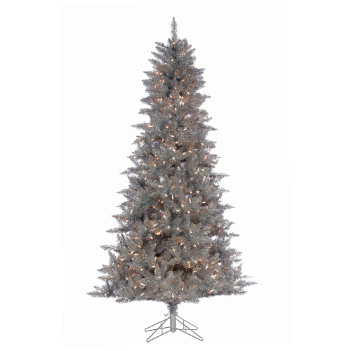 7.5' Silver Tinsel Prelit LED Artificial Christmas Tree