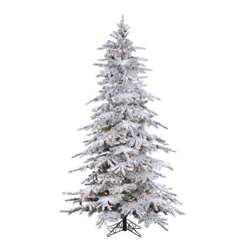 9' Flocked Balsam Pine Prelit Artificial Christmas Tree with Staylit