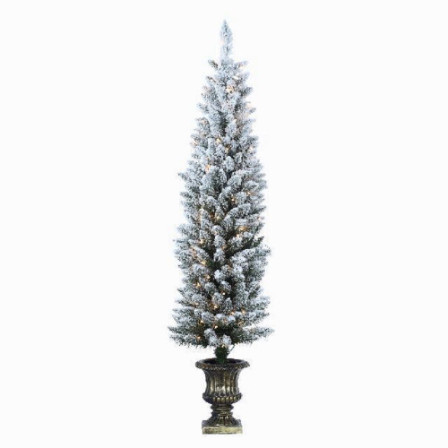 4.5' Flocked Potted Prelit Artificial Tree