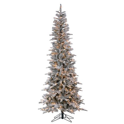 9' Snowcrusted Color Changing Prelit Pencil Artificial Christmas Tree