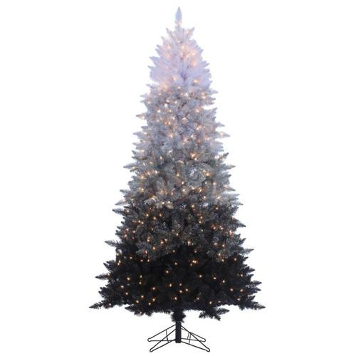 7.5' Vintage Black Prelit Ombre Spruce Artificial Christmas Tree