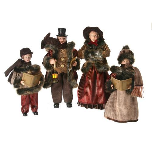 "16"" Burgundy Fabric Caroler Family Set of 4"