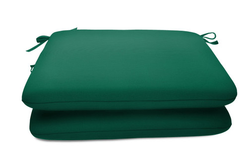 """Quick Ship Sunbrella 18"""" Square Seat Pad 2 Pack Canvas Forest Green"""