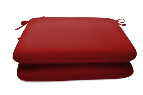 "Quick Ship Sunbrella 18"" Square Seat Pad 2 Pack Canvas Jockey Red"