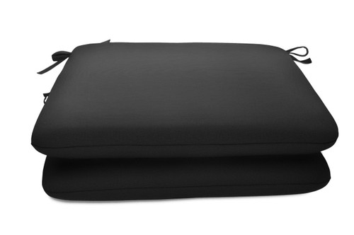 "Quick Ship Sunbrella 18"" Square Seat Pad 2 Pack Canvas Black"
