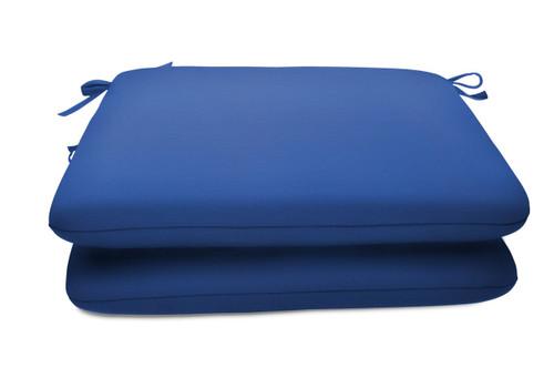 "Quick Ship Sunbrella 18"" Square Seat Pad 2 Pack Canvas True Blue"