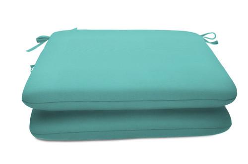 """Quick Ship Sunbrella 18"""" Square Seat Pad 2 Pack Canvas Aruba"""