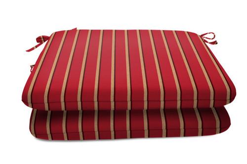 "Quick Ship Sunbrella 18"" Square Seat Pad 2 Pack Harwood Crimson"