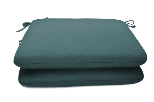 "Quick Ship Sunbrella 18"" Square Seat Pad 2 Pack Cast Lagoon"