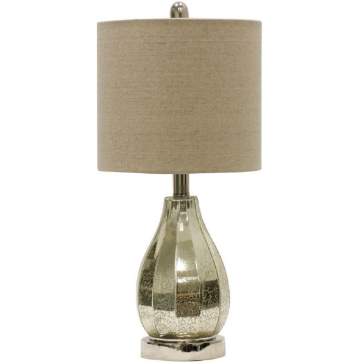 StyleCraft Mercury Glass Faceted Table Lamp 21""