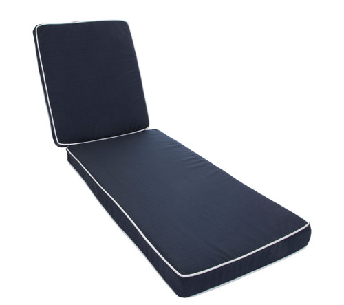 Outdoor Chaise Cushion La Playa Navy with Ties