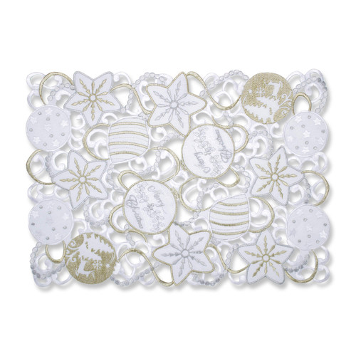 Pillow Perfect Ornaments White-Silver Placemat (Set of 2)