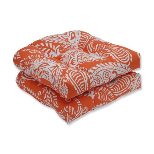 Pillow Perfect Addie Terra Cotta Wicker Seat Cushion (Set of 2)