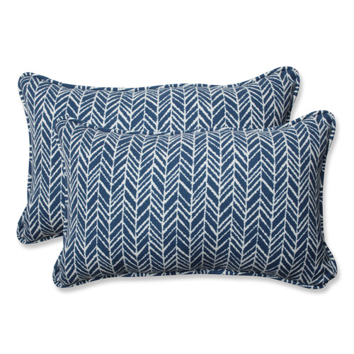 Pillow Perfect Herringbone Ink Blue Rectangular Throw Pillow (Set of 2)