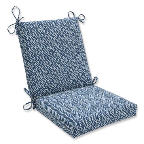 Pillow Perfect Herringbone Ink Blue Squared Corners Chair Cushion