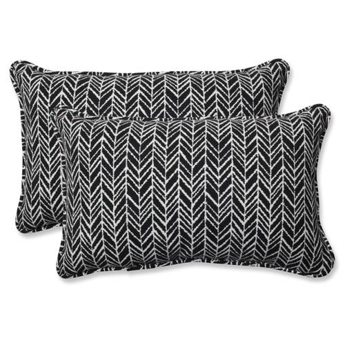 Pillow Perfect Herringbone Night Rectangular Throw Pillow (Set of 2)