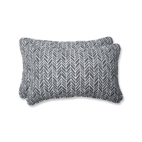 Pillow Perfect Herringbone Slate Rectangular Throw Pillow (Set of 2)