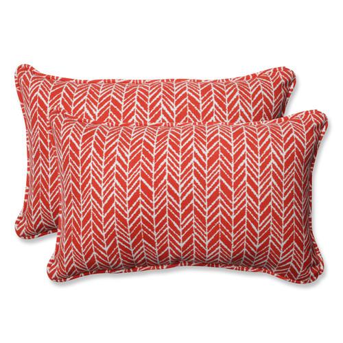 Pillow Perfect Herringbone Tomato Rectangular Throw Pillow (Set of 2)