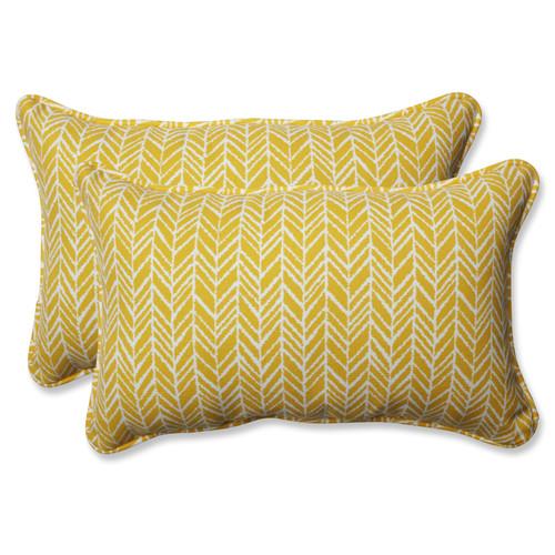 Pillow Perfect Herringbone Egg Yolk Rectangular Throw Pillow (Set of 2)
