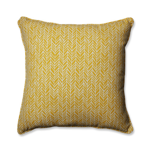 Pillow Perfect Herringbone Egg Yolk 25-inch Floor Pillow
