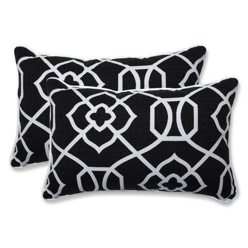 Pillow Perfect Kirkland Black Rectangular Throw Pillow (Set of 2)