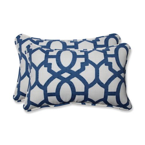 Pillow Perfect Nunu Geo Ink Blue Rectangular Throw Pillow (Set of 2)