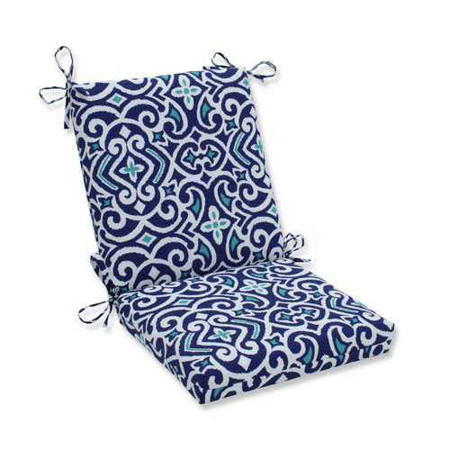 Pillow Perfect New Damask Marine Squared Corners Chair Cushion