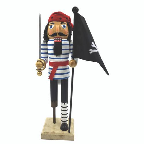 "Santa's Workshop Peg Leg Pirate Nutcracker with Flag 14"""