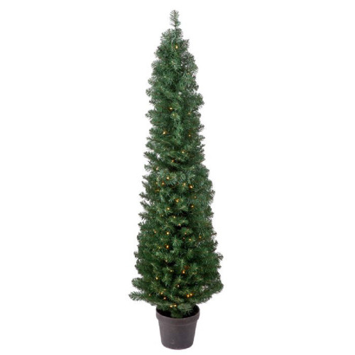 Potted Artificial Prelit Spruce Tree 5'