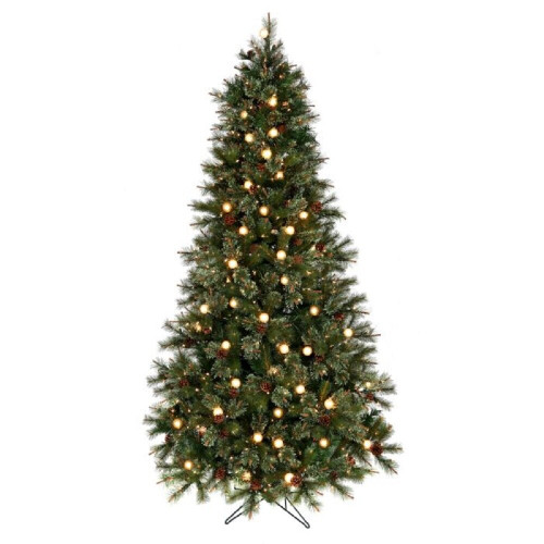 Twinkle Cottonwood Artificial Prelit Tree with Cones Clear Bulbs 5 ft