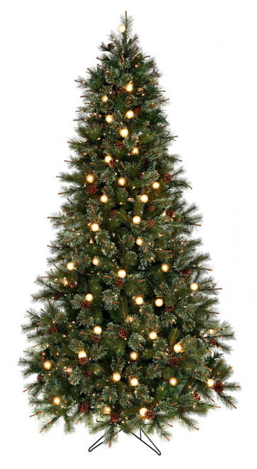 Twinkle Cottonwood Artificial Prelit Tree with Cones Clear Bulbs 7.5 ft