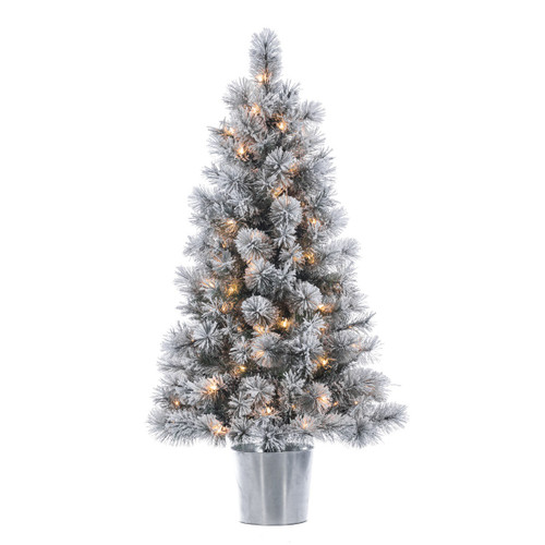Potted Artificial Prelit Flocked Boise Pine 4.5'