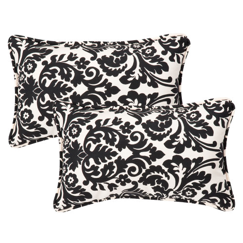 Pillow Perfect Essence Black|Beige Rectangle Throw Pillow (Set of 2)
