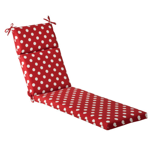 Pillow Perfect Polka Dot Red Chaise Lounge Cushion