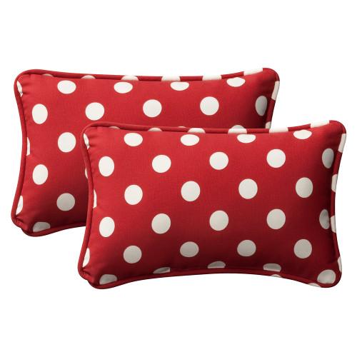 Pillow Perfect Polka Dot Red Rectangle Throw Pillow (Set of 2)