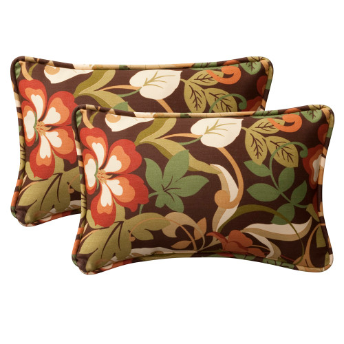 Pillow Perfect Coventry Brown Rectangle Throw Pillow (Set of 2)
