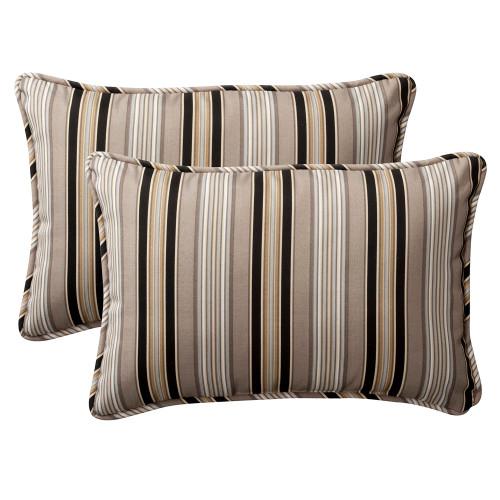 Pillow Perfect Getaway Stripe Black Rectangle Throw Pillow (Set of 2)