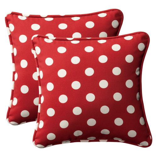 Pillow Perfect Polka Dot Red 18.5-Inch Throw Pillow (Set of 2)