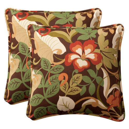 Pillow Perfect Coventry Brown 18.5-Inch Throw Pillow (Set of 2)